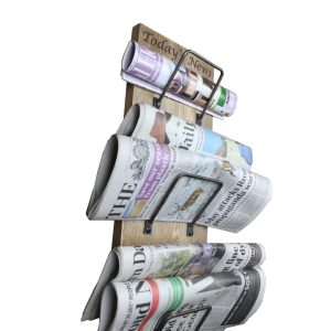 Newspaper, Post and Wine triple Rack in use