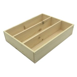 Natural Rustic 3 Compartment Cutlery & Condiment Holder 375x290x80