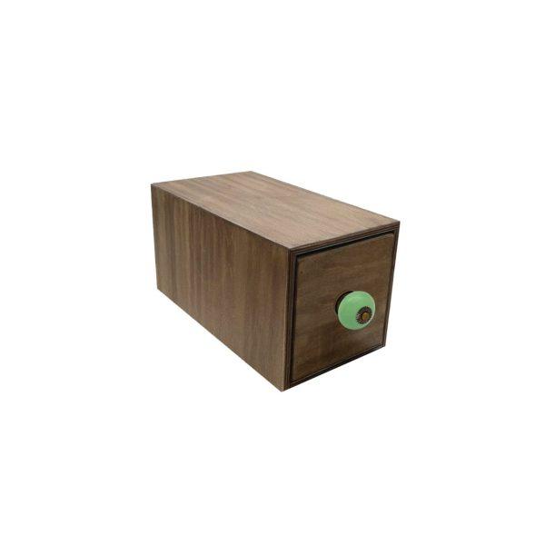 Rustic Brown single bread bin 170x310x170 with green ceramic knob