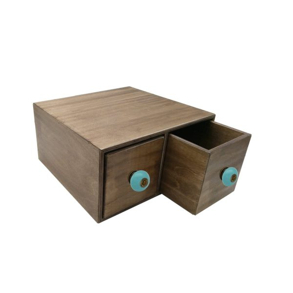rustic brown double bread bin 335x310x170 with wood drawers and turquoise ceramic knobs