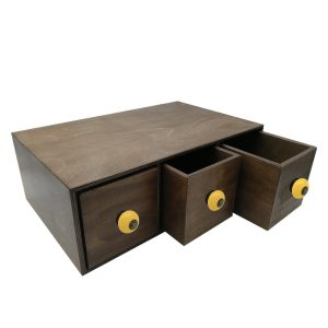 rustic brown triple bread bin 490x310x170 with wood drawers and yellow ceramic knobs