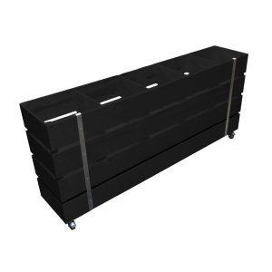 Black Mobile Painted 5 Bin Impulse Merchandise Display Stand 1500x300x670