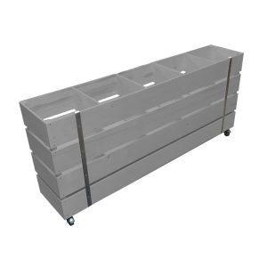Gretton Grey Mobile Painted 5 Bin Impulse Merchandise Display Stand 1500x300x670