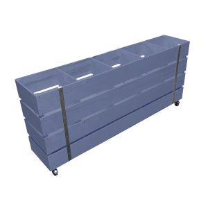 Kingscote Blue Mobile Painted 5 Bin Impulse Merchandise Display Stand 1500x300x670