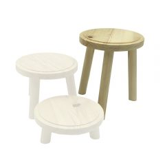 Natural Rustic Pine Milking Stool 170D set 205 highlighted