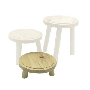Natural Rustic Pine Milking Stool 170D set 65 highlighted