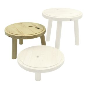 Natural Rustic Pine Milking Stool 210D set 135 highlighted