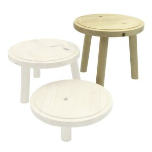 Natural Rustic Pine Milking Stool 210D set 205 highlighted