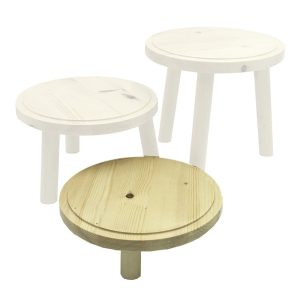 Natural Rustic Pine Milking Stool 210D set 65 highlighted