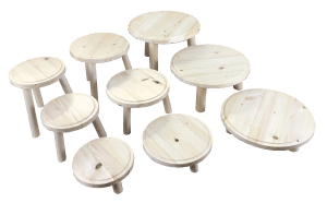 Natural Rustic Pine Milking Stool all sets all Diameters