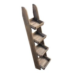 Rustic Brown Rustic 4-tier slanted tray wall ladder display stand 316x375x1090