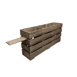 Rustic Brown Rustic Mini 3 Bin Impulse Merchandise Display Stand 800x180x360 side view
