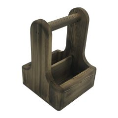 Rustic Scorched Pine Condiment Caddy 170x170x230
