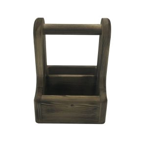 Rustic Scorched Pine Condiment Caddy 170x170x230 side view
