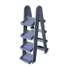 double Kingscote Blue painted 4-tier slanted tray wall ladder display stand 316x375x1090
