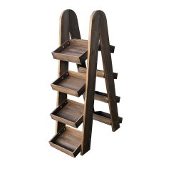 double rustic brown rustic 4-tier slanted tray wall ladder display stand 316x375x1090