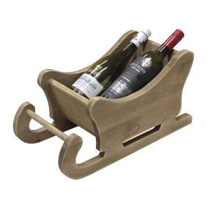 personalised Rustic Brown Rustic Santa Sleigh 450x220x230 with wine in