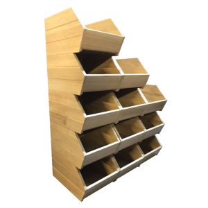 stacked ribbed oak tote bins 363x265x195