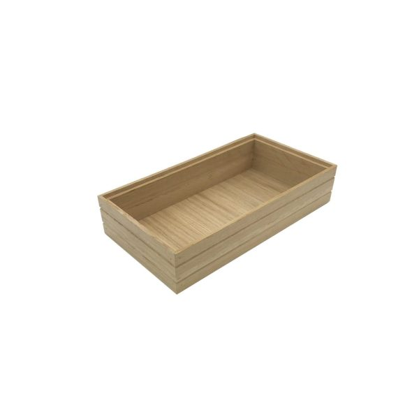 B1/3 Ribbed Natural Oak Trolley Stacker Box 396x212x80