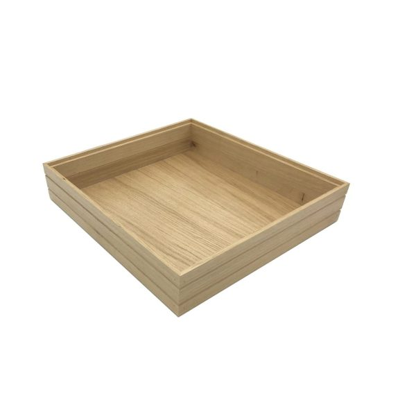 B2/3 Ribbed Natural Oak Trolley Stacker Box 424x398x80