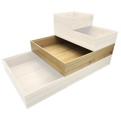 B2/3 Lacquered Ribbed Oak Trolley Stacker box 424x398x80 in stack