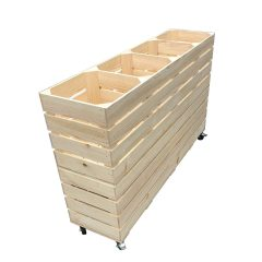 Natural Mobile Rustic Redwood 4 Bin Impulse Merchandise Display Stand 1200x300x758