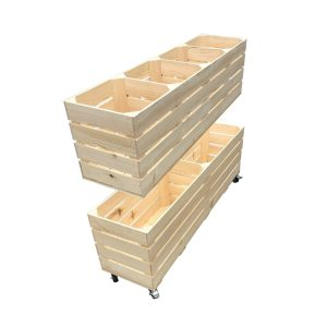 Natural Rustic 4 Bin Impulse Merchandise Paddock Display Stand 1200x300x758 split in two halfs