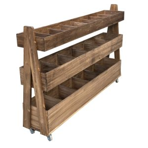 Rustic Brown Mobile Rustic 3-Tier Queue Divider Display Stand 1500x260x940