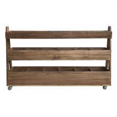 Rustic Brown Mobile Rustic 3-Tier Impulse Queue Divider Display Stand 1500x260x940 side view
