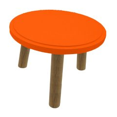 Orange Topped Oak Milking Stool 290Dx210