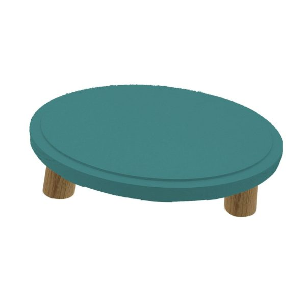 Turquoise Topped Oak Milking Stool 290Dx70