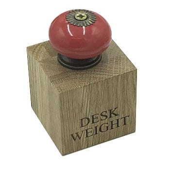 Solid Oak Desk Weight with Red Ceramic Handle