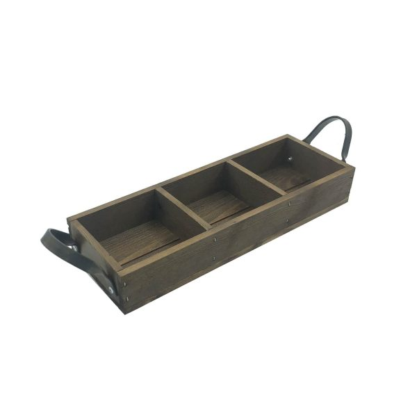 Looped Handle Rustic 3 compartment Tray 350x120x53