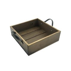 Looped Handle Rustic Tray 250x250x80