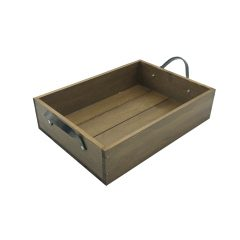 Looped Handle Rustic Tray 330x240x80