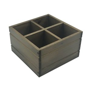 Rustic 4 Compartment Cutlery & Condiment Holder 180x180x103