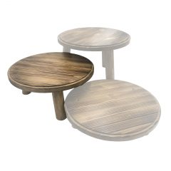 Scorched Pine Milking Stool 305Dx140 in set