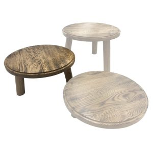 Scorched oak Milking Stool 305Dx140 in set