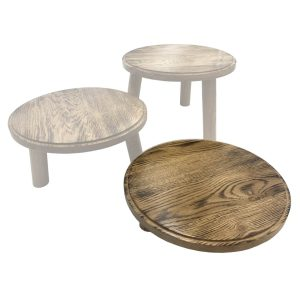 Scorched oak Milking Stool 305Dx70 in set