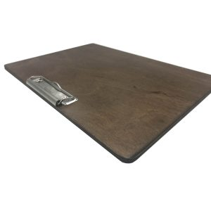 A4 Landscape Rustic Brown Ply clipboard with clip 320x230x6 angle
