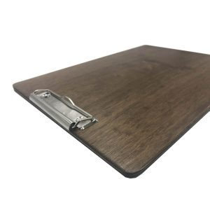 A4 Portrait Rustic Brown Ply clipboard with clip 230x320x6 angle