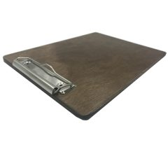 A5 Portrait Rustic Brown Ply clipboard with clip 175x230x6 angle
