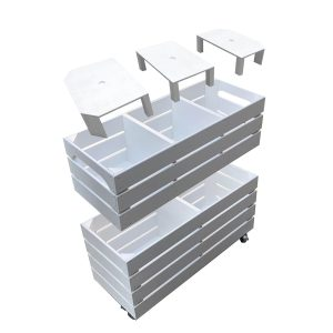 Mobile Painted 3 Bin Impulse Merchandise Display Stand 750x300x624 exploded