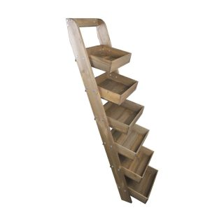 Rustic Brown Rustic slim 6-tier slanted tray wall ladder display stand 411x536x1607