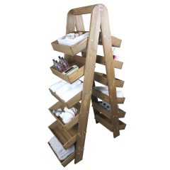 Rustic Brown Rustic slim 6-tier slanted tray wall ladder display stand 411x536x1607 set lifestyle