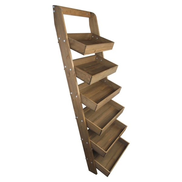Rustic Brown Rustic wide 6-tier slanted tray wall ladder display stand 536x536x1607