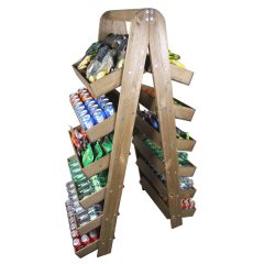 Rustic Brown Rustic wide 6-tier slanted tray wall ladder display stand 536x536x1607 set lifestyle with cans