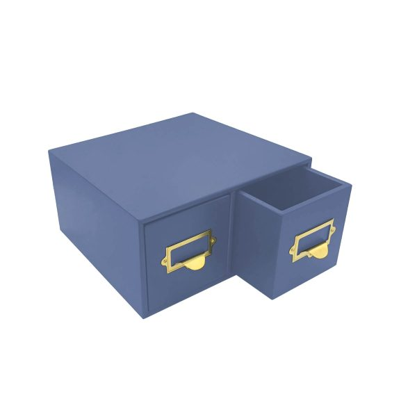 Kingscote Blue Painted double bread bin 335x310x170 with wood drawers and brass ticket handles
