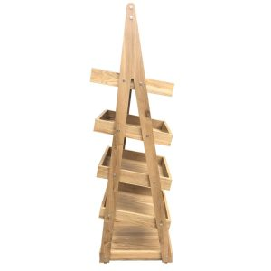 Mobile 5-Tier Slanted Oak A-Frame Display Stand 486x530x1765 side view