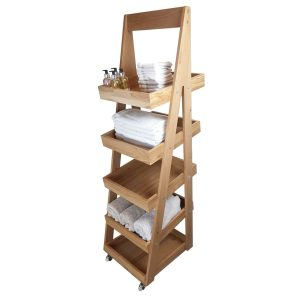 Mobile 5-Tier Slanted Oak A-Frame Display Stand 486x530x1765 with product